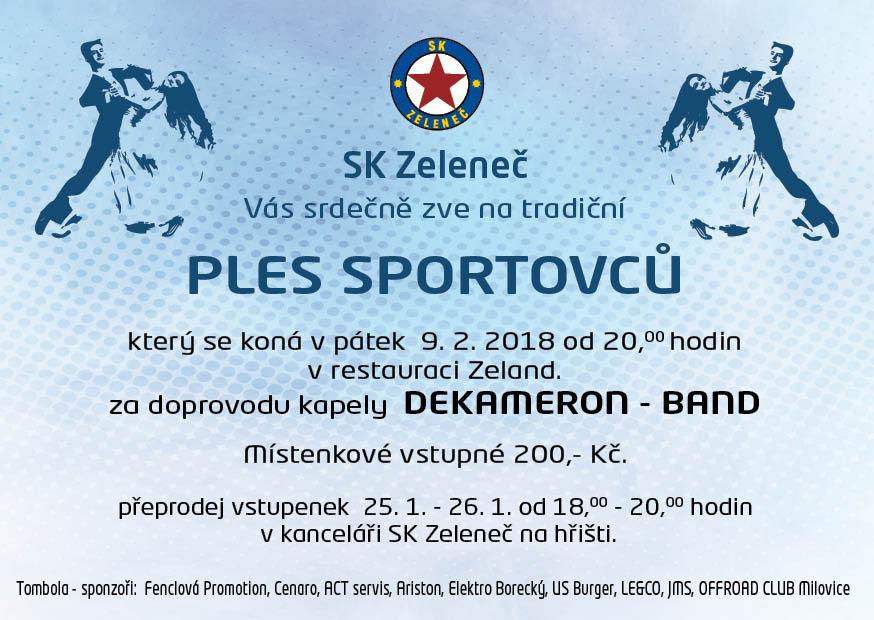 Pozvánka na tradiční ples klubu SK Zeleneč